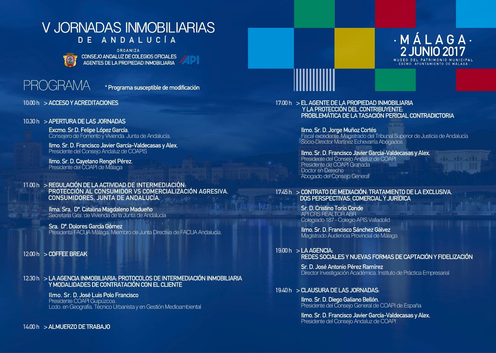 PROGRAMA V JORNADAS INMOBILIARIAS DE ANDALUCIA MALAGA